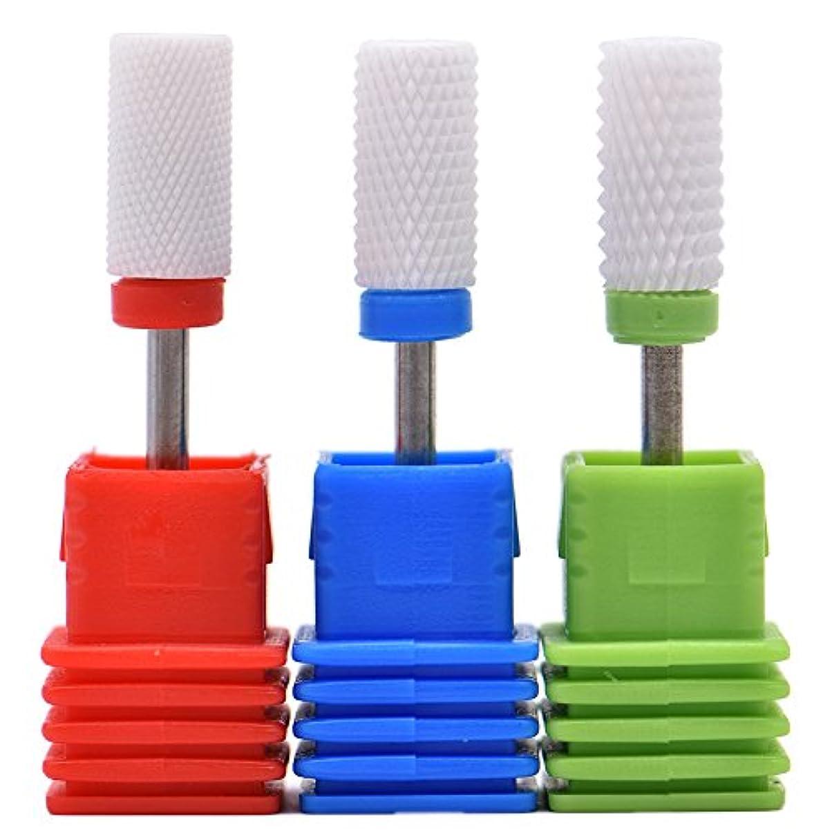 地震ガード一致するOral Dentistry ネイルアート ドリルビット 研削ヘッド 研磨ヘッド ネイル グラインド ヘッド 爪 磨き 研磨 研削 セラミック 全3色 (レッドF(微研削)+グリーンC(粗研削)+ブルーM(中仕上げ))