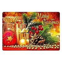 "Doormat Durable 23.6"" X 15.7""メリークリスマスプリント屋内アウトドアノンスリップフロアマットキッチン用ラバーバッキング付きバスルームフロントポーチの装飾レイヤードパティオ… 80x50cm"