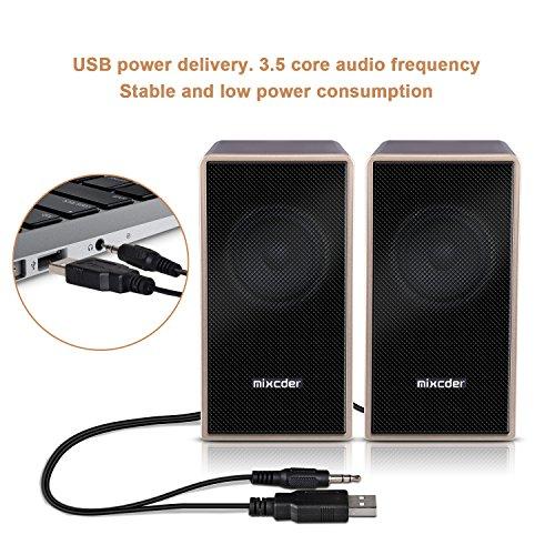 『PCスピーカー Mixcder MSH169 USB ステレオ マルチメディア スピーカー ステレオミニプラグ音源 小型 重低音 』の2枚目の画像