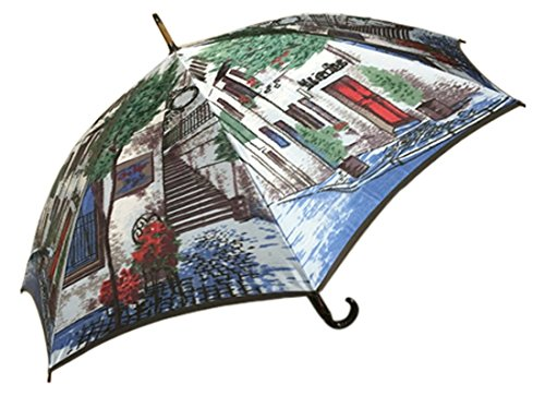 Mont Blanc (モンブラン) 高級美術洋傘・ほぐし織り 雨傘 街路樹 ブルー 長傘