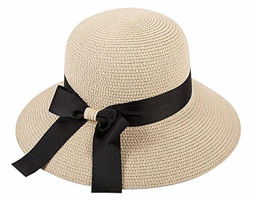 麦わら帽子、折りたたみ可能、日除け帽子、レディース、春、夏、つば広、UVカット、旅行、モーカルズ(MOKALE) (ベージュ2)