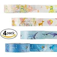 4ロールマスキングテープセット、装飾クラフトテープDIYの工芸品やギフトの折り返し