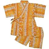 ガールズキッズ浴衣|甚平[くろわっさんすべべ]女の子|女児|子供用うさぎ|桜柄甚平上下セット日本製の綿100%生地使用 110cm オレンジ