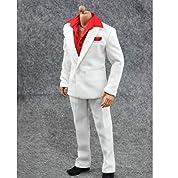 【ノーブランド 品】赤い 長袖 シャツ パンツ スーツ 1/6 服 アクション フィギュア 衣装