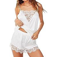Ausexy Women Lace Trim Satin Cami Sleepwear Sets Sleeveless Strap Tops +Short Pants Nightwear Pajama Lingerie