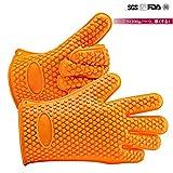 キッチン手袋 JOOCII 無毒/安全シリコン手袋 滑り止め/防水キャンプ焼きBBQ耐熱手袋 5本指手袋 二つセット フリーサイズ