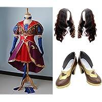 HALLE コスプレ衣装  コスチューム  ダヴィンチ 風衣装+ウイッグ+靴  なりきり パーティー イベント仮装  (靴サイズはご注文後メールでご連絡してください。, 女性Mサイズ)