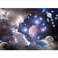 ダイヤモンドモザイク5d diyダイヤモンド絵画クロスステッチ宇宙風景ダイヤモンド刺繍フルラウンドラインストーン、50×70cm