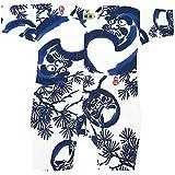 【福だるまと松?白青】 お祭りロンパース 赤ちゃん用 お祭り衣装 男女兼用 義若オリジナル商品