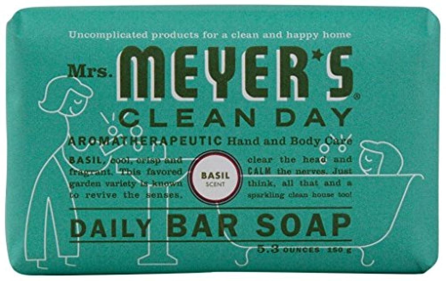 日プロフェッショナル反応するMrs. Meyers Clean Day, Daily Bar Soap, Basil Scent, 5.3 oz (150 g)