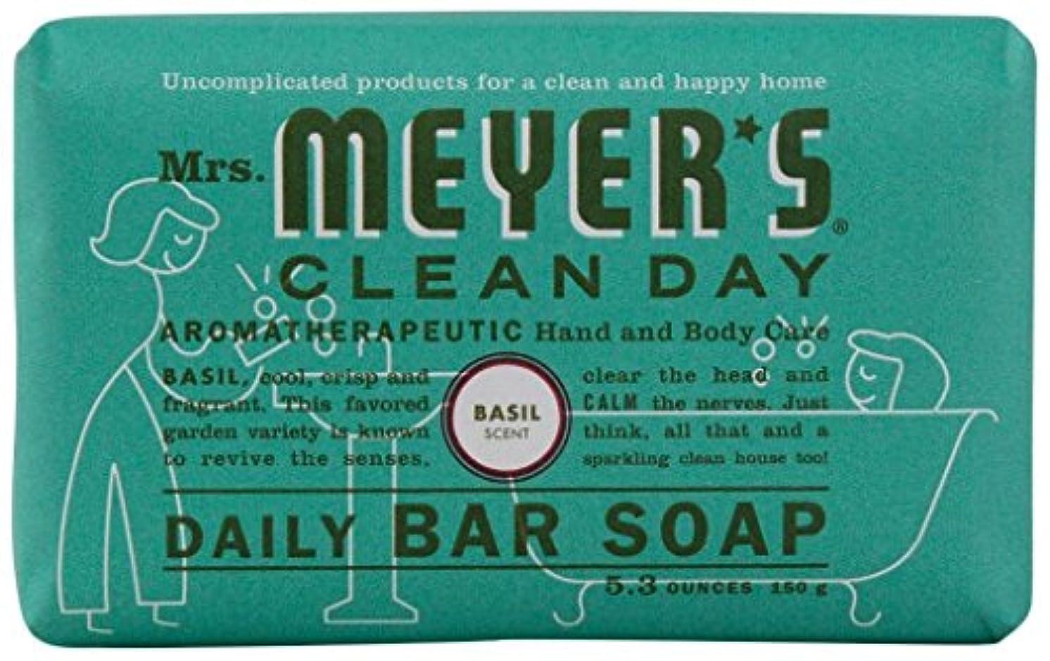 しおれた組嵐のMrs. Meyers Clean Day, Daily Bar Soap, Basil Scent, 5.3 oz (150 g)