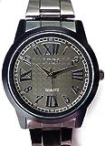 メンズ 腕時計 かっこいい デザイン ウォッチ ラウンドフェイス ベルト ブラック/黒 プレゼントにも ビジネス 白 セピア ローマ数字 アンティーク レトロ 文字盤[tvs292-men]