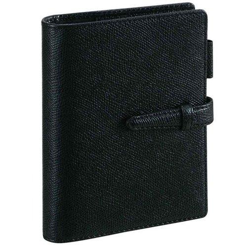 ダ・ヴィンチ グレインレザー ポケットサイズシステム手帳 リング14mm DP607 B [ブラック]