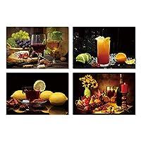 Cocina Arte de la pared Pintura de la lona 4 Panel Vino tinto y frutas Carteles e impresiones Bar Comedor Decoración Imágenes-30x40cmx4 sin marco