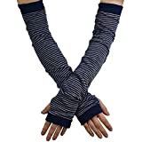 YAKIDA UV カット アームカバー 腕カバー UVカット手袋 綿麻 紫外線対策 ロング丈 日焼け対策 冷房対策 ゆったり 汗取り 敏感肌 涼感 薄手 男女兼用 (02-Navy)