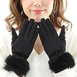 searina 手袋 レディース スマホ 対応 かわいい ラビット ファー ウール 極暖 アンゴラ (360) (ブラック)