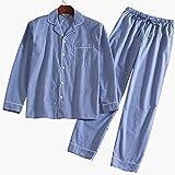 (ティアナ23)Tianna23 メンズ 長袖 パジャマ 前開き ルームウェア 綿100% 上下2点セット ストライプ ライトブルー XL