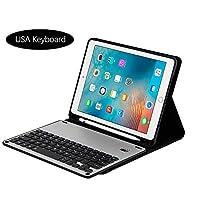 Happon iPad Pro 9.7インチタブレットレザーケース ワイヤレスUSAキーボード付き タブレットプロテクターカバー フリップ折りたたみスタンド 耐衝撃 フルプロテクション iPad Pro 9.7インチ用 シルバー, シルバー, 0350-7W-539