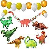 i House 21ピース 恐竜 誕生日パーティー用品 6個の巨大恐竜バルーン 恐竜 ハッピーバースデーバナー 14個 ローズゴールド ホワイトバルーン 恐竜テーマ パーティーデコレーション 子供用