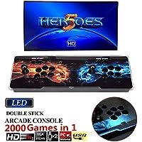 online(オンライン)2000 in 1 ヒーローズボックス5 Heroes Box 5 アーケードゲーム機 ビデオゲームコンソール 内蔵2000クラシックゲーム ゲームコンソール ゲームアーケード 2プレイヤー LEDライトバー搭載 人気デザイン トーナメントレバー機