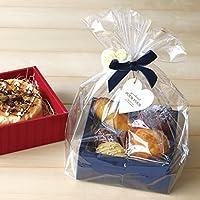 【バレンタイン ラッピング】【ラッピング用品】Box kit ボックスキットM(OPP袋・紐付きミニカード・リボン付きタイ・花付タイ付き) ネイビー(205)