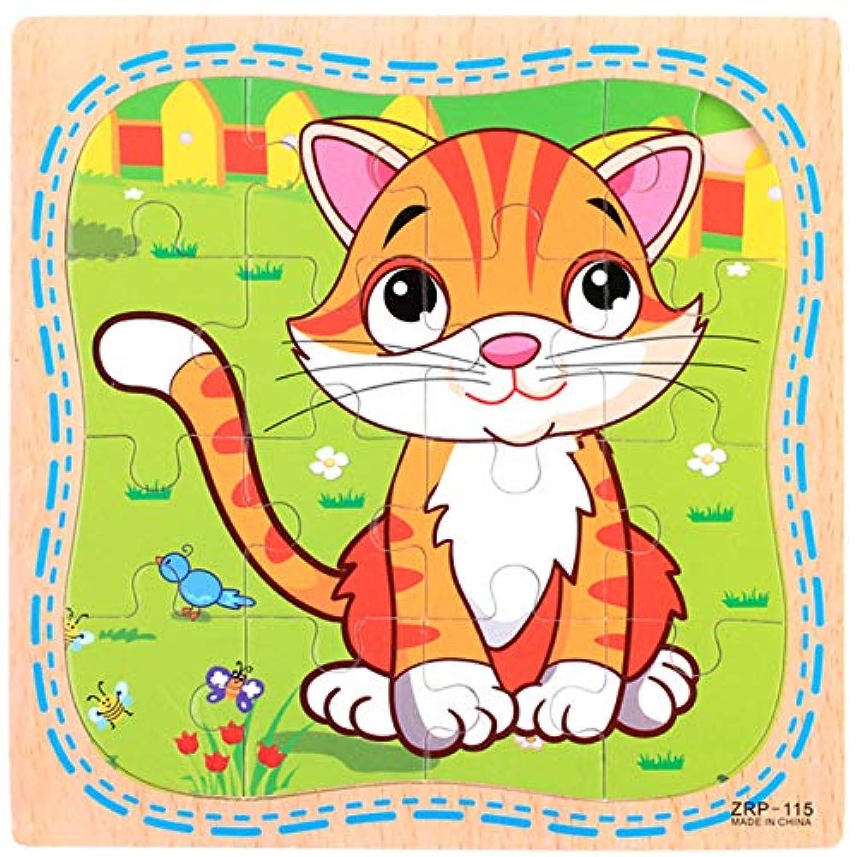ptk12 s6 16ピース アニマル柄 木製 パズル玩具 木製 キュート アニメ 動物 ジグソーパズル 教育玩具 子供用