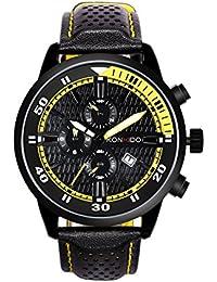 KONXIDO 腕時計 メンズ 日本製クォーツムーブメント レザーベルト 日付表示 アナログウォッチ 男性 時計 防水腕時計 カジュアル ビジネス ファッション 日本語取扱説明書付き イエロー