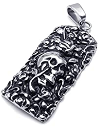 [テメゴ ジュエリー]TEMEGO Jewelry メンズステンレススチールヴィンテージペンダントゴシックスカルローズ彫刻ネックレス、ブラックシルバー[インポート]