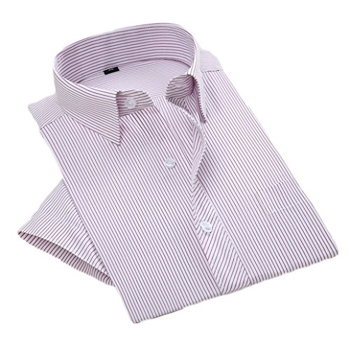 ZDCGT メンズ 形態安定加工 ビジネス ワイシャツ 半袖 ノーアイロン シャツ ストライプ ワイシャツ スリム シャツ 吸水速乾 抗菌防臭 結婚式 通勤 制服 カジュアル 紳士用パープル41(日本サイズM相当)