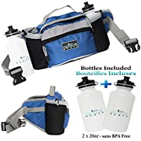 GENIUS EARTH Travel Fanny Pack with Bottle Holders + Set of 2 BOTTLES INCLUDED. Waterproof Multi-Purpose Pouch and Lumbar Waist Bag ? Fits Women Men and Kids. Perfect Hiking - Day Pack. Royal Blue