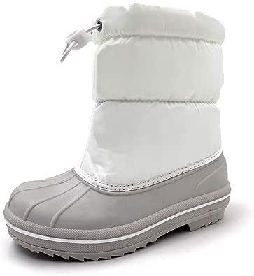 [アモジ] キッズ スノーブーツ スノーシューズ 長靴 スキー ガールズ ジュニア 女の子 男の子 ボーイズ 子供 ボア 冬用 防寒 ホワイト 18cm