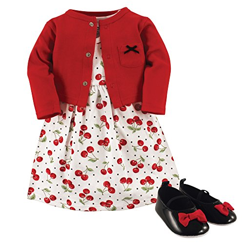 Hudson Baby Girl Cardigan, Dress and Shoes, 3-Piece Set, Cherries, 9-12 Months (12M)