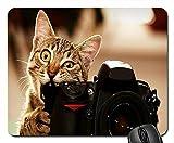 マウスパッド かわいい 猫 子猫 カメラ イラスト 萌え 人気 モダン 光学式対応 マウスパッド(22*18*0.3CM)