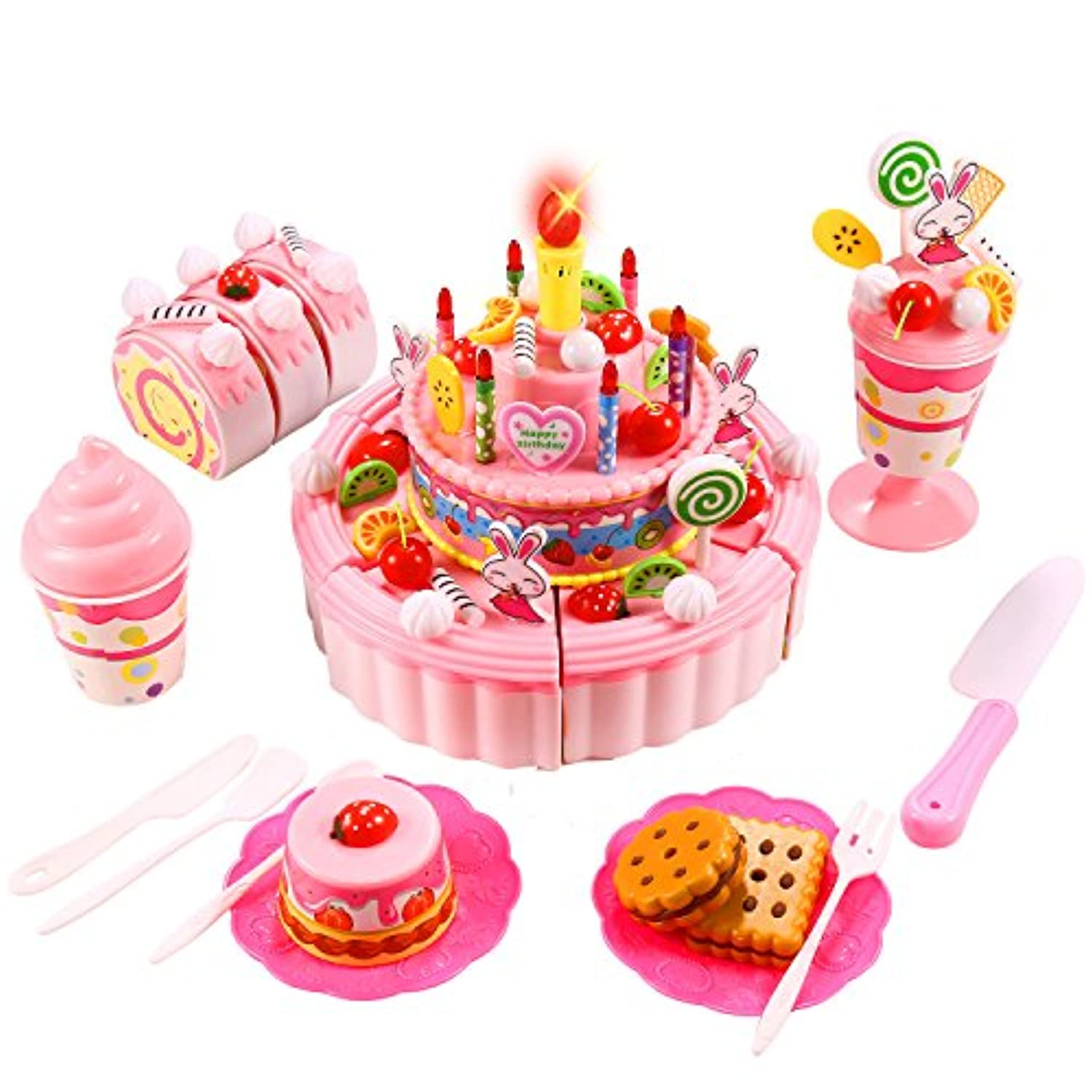 (3-layer/Pink) - Arshiner Triple-Layer Light & Birthday Song Party Cake Desert Kids Pretend Play Food Toy Set (Pink) (US STOCK)