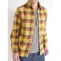 (オークランド) Oakland 起毛 フランネルシャツ シャツ チェックシャツ トップス カジュアル MODE きれい目 メンズ イエロー×チャック Lサイズ