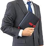 (シールアル) 手帳カバー B6サイズ 本革 革 ベルトつき バイカラー CLuaR-TC (09.ブラック×レッド(背表紙:BK)) 画像