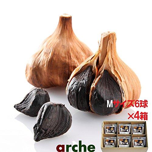 青森県産 ニンニク 熟成 黒にんにく Mサイズ個包装 6球箱入り×4箱セット(計24球)