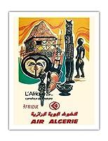 アフリカ - 歴史の十字路 - 空気アルジェリア - ビンテージな航空会社のポスター c.1950s - アートポスター - 51cm x 66cm