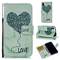 iPhone X 財布 シェル, iPhone X レザー シェル, LoveBee プレミアム PU レザー シェル フォリオ 立つ バンパーバック カバー の iPhone X - Green