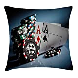 Poker Tournament Decorations Throw Pillow Cushion Cover, Gambling Chips and Pair Cards Aces Casino Wager Games Hazard, Decorative Square Accent Pillow Case, 18X18 Inches, Multicolor