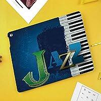 iPad Air 10.5 ケース/iPad Pro 10.5 ケース 薄型 オートスリープ機能 三つ折りスタンドピアノのキーを持つ抽象ひびの入ったジャズ音楽の背景音楽テーマプリント