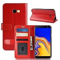 Samsung Galaxy J4 Plus 2018 財布 シェル, Mrstar Samsung Galaxy J4 Plus 2018 フリップ シェル, 上品な スリム レザー 財布, ID クレジット カード スロット ホルダー の Samsung Galaxy J4 Plus 2018 - Red