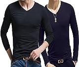 2枚セット Tシャツ Uネック Vネック ラウンドネック インナー カットソー クルーネック 七分 シャツ 袖 丈 肌着 部屋着 無地 メンズ ロ..