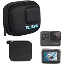 TELESIN Protective Case Travel Carrying Bag Small+Lens Cover Protector Cap+Lens LCD Screen Film for GoPro Hero 2018 Hero 6 Hero 5 Camera Selfie Stick Accessories