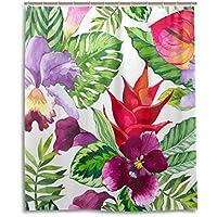 マキク(MAKIKU) シャワーカーテン 防カビ おしゃれ リング付属 熱帯 花柄 絵 カラフル バスカーテン 防炎 環境にやさしい 目隠し洗面所 間仕切り 取付簡単 150x180