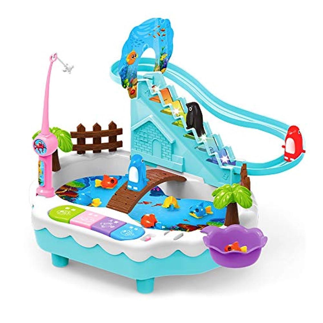 中事実上優先磁気釣りのおもちゃプールを設定し、 USB子供のパズルゲーム、 ミュージックライト小型ペンギンクライム階段 3つの4 5歳の誕生日プレゼントのために