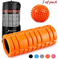 SHEEFLY フォームローラー ストレッチローラー グリッドローラー - 33×15cm - EVAエコ素材 トリガーポイント 筋膜リリース 腰痛 肩コリ筋肉痛を改善 - フィットネス/エクササイズ/ダイエット/ヨガ/ピラティス/物理療法/リハビリ器具に最適+ボール、収納袋、説明書付