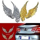CarOver 【愛車を高級車風に!!】 翼 羽 3D 立体 エンブレム 高級車 VIP クール カスタム ステッカー (シルバー) CO-WING-SV