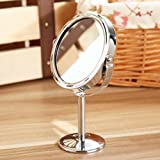 化粧鏡,petforu 拡大2倍と等倍の両面化粧鏡 拡大鏡 卓上ミラー 卓上鏡 メイクアップミラー 360度回転 メイクに最適 よく見える スタンド型 円形 - シルバー
