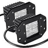 CooAgo LEDワークライト 18W 広角タイプ(60度) 6000K IP67防水 CREE製 10-30VDC対応 12V/24V兼用 LED 作業灯 新設計 防水・防塵・耐衝撃・長寿命 車外灯 オートバイ・機械・自動車・トラック用品 汎用作業灯 ( 2個セット、1年保証 )